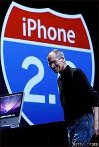 El presidente de Apple, Steve Jobs, durante la presentaci�n del nuevo iPhone