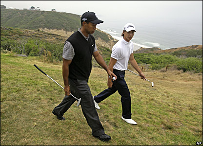 Tiger Woods and Jordan Cox