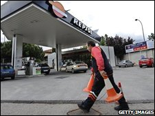 A Spanish petrol station is shut after running out of fuel