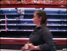 Empty shelves at a Madrid supermarket