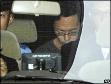 Tomohiro Kato, suspected of Sunday's stabbing spree in Tokyo, in police custody on Tuesday