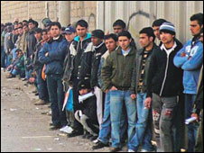 Asylum seekers waiting to lodge applications in Greece: pic courtesy NHC