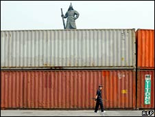 A shipping container blocks protesters' access to government buildings in central Seoul on Tuesday
