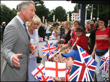 Prince Charles, Camilla and pupils at Upton-upon-Severn, Worcestershire