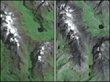 Ruwenzori Mountains in Uganda, pictured on the left in 1987 and on the right in 2005 (UNEP image)