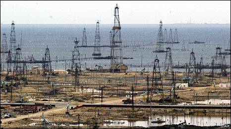Oil derricks near the Azerbaijan capital, Baku. Starting point of the Baku-Tbilisi-Ceyhan pipeline.