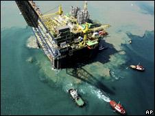 Aerial view of oil platform in Rio de Janeiro, Brazil