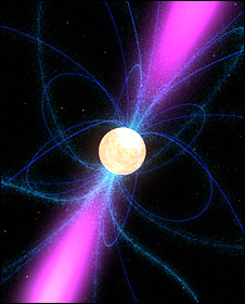 Artist's impression of a pulsar (Nasa)