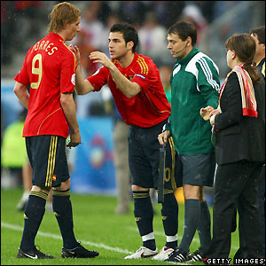 Fabregas comes on for Spain