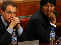El presidente del gobierno español, José Luis Rodríguez Zapatero y el presidente de Bolivia, Evo Morales