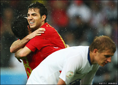 Fabregas celebrates his goal