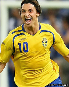 Zlatan Ibrahimovic celebrated putting Sweden ahead against Greece