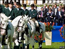 EU and US party watching Lipizzaner horse display