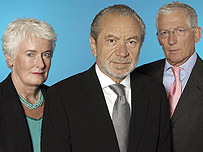Sir Alan Sugar with Margaret Mountford and Nick Hewer