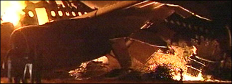 The Sudan Airways plane on fire at Khartoum airport, 10 June 2008
