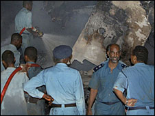Rescue workers at the air crash scene, Khartoum airport