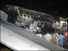 The wreckage of the Sudan Airways plane at Khartoum airport