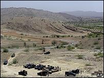 Puesto militar paquistaní en la región tribal de Waziristán del Sur.