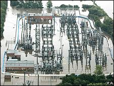 submerged electricity substation