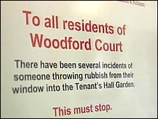 The litter notice in Woodford Court