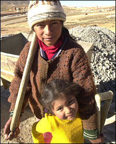 Abigail, a child miner in Potosi, Bolivia, with her younger sister