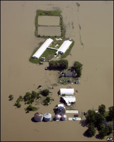 Flooded farm in Illinois, 10 June