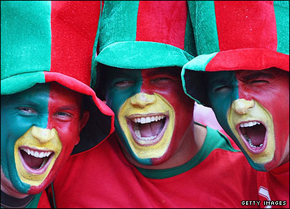 Portugal fans create a colourful atmosphere a