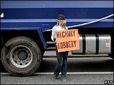 British truck driver protesting