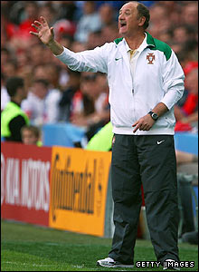 Portugal coach Luiz Felipe Scolari directs his players