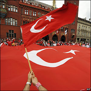Turkish fans pack into the centre of Basel