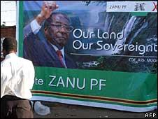 A Zanu-PF poster in Zimbabwe