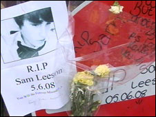 One of many tributes outside the school