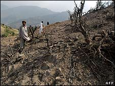Pakistani men survey the site of a reported US air strike in Gora Prai on 11 June