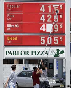 Price board at a US petrol station