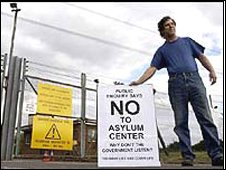 Protester outside the then proposed site for asylum centre