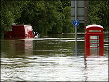 Flooded street in Catcliffe, South Yorkshire