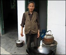 Mr Ma's mother, at their temporary accommodation