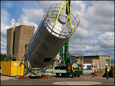 Silo being delivered