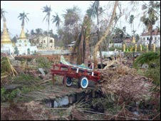 Damage in Burma. Photo Credit:MSF