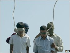 Mahmoud Asgari, 16, and Ayaz Marhoni, 18, shortly before their execution in 2005