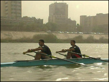 Haider Nawzad and Hamza Hussein rowing on the River Tigris