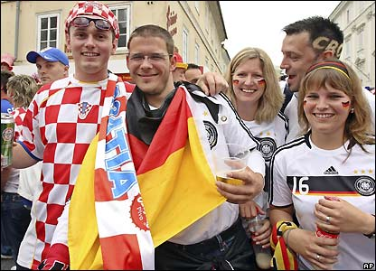 Croatia and Germany fans pose for a photo