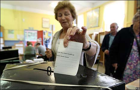A woman casts her vote in Dublin on 12 June