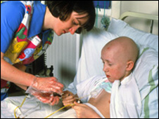 A child undergoing chemotherapy in hospital