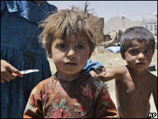 Afghan children at a refugee camp in Kabul, Afghanistan 12/06/08