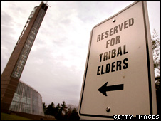 Parking sign reading 'Reserved For Tribal Elders' stands outside the Mashantucket Pequot Museum