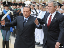 Italian Prime Minister Silvio Berlusconi welcomes US President George Bush after arriving at Villa Madama in Rome, Italy