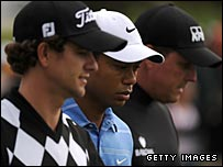 Adam Scott (left), Tiger Woods (centre), Phil Mickelson (right)