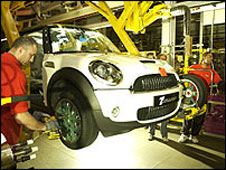 A Mini in production at the Cowley plant