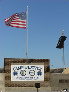 Sign at the entrance to Camp Justice, Guantanamo Bay, Cuba